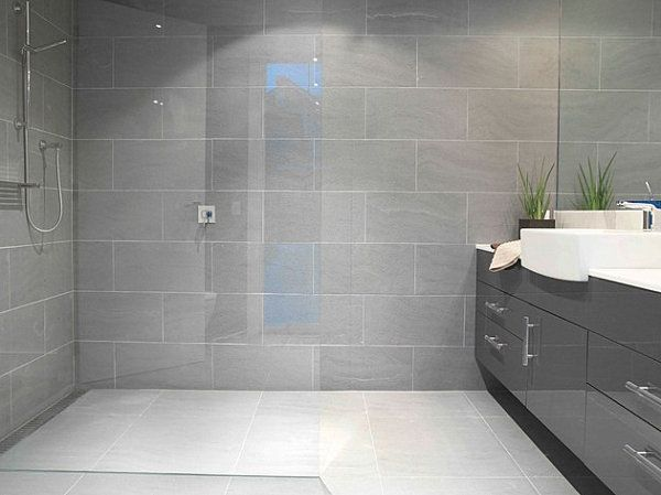 Amazing bathroom decorating ideas grey tile shower for Large bathroom tiles in small bathroom