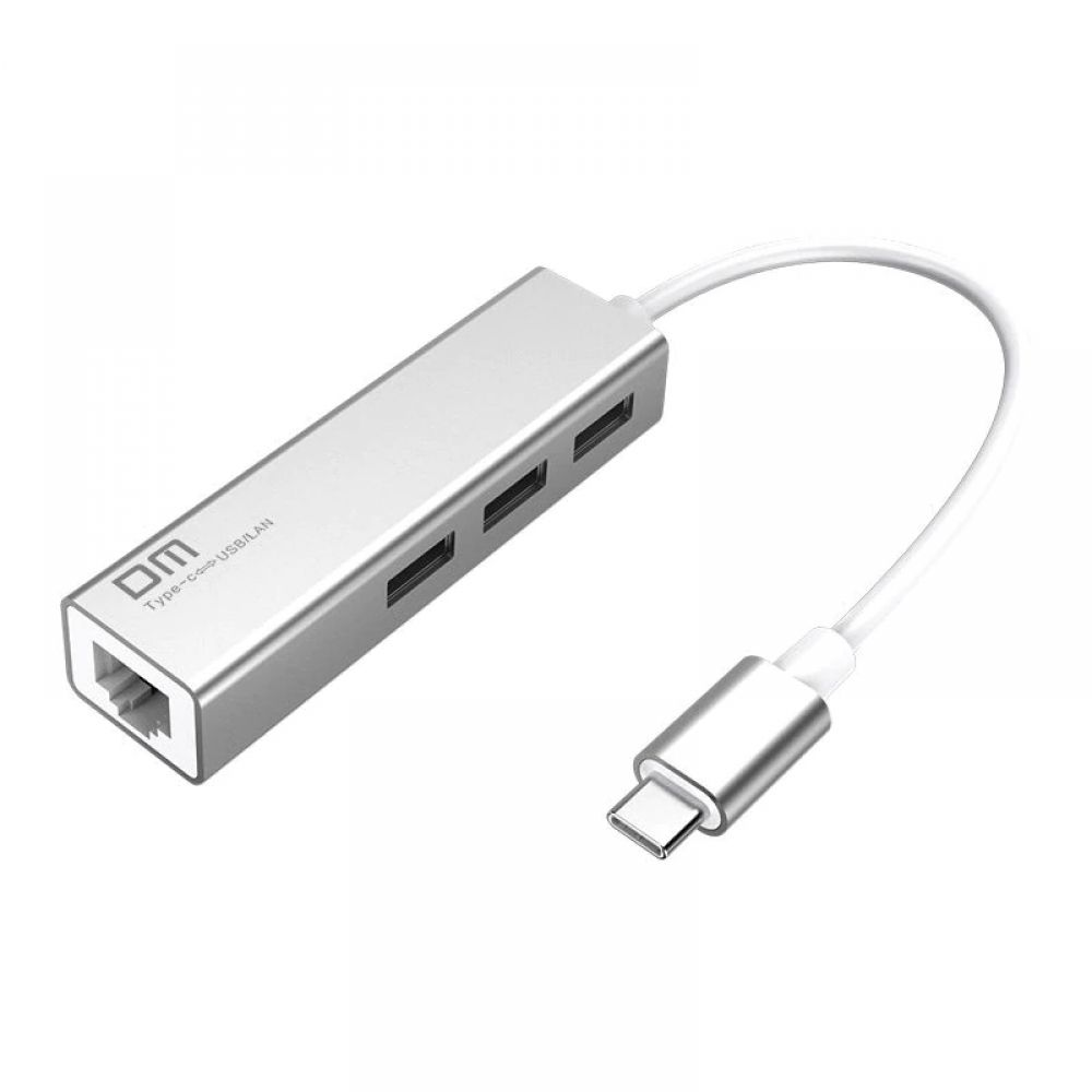 Free Shipping Dm Usb C To Ethernet Adapter With Type C Usb 2 0 Hub 3 Ports Rj45 Network Card Lan Adapter For Macbook Usb C Type Usb Splitters Port