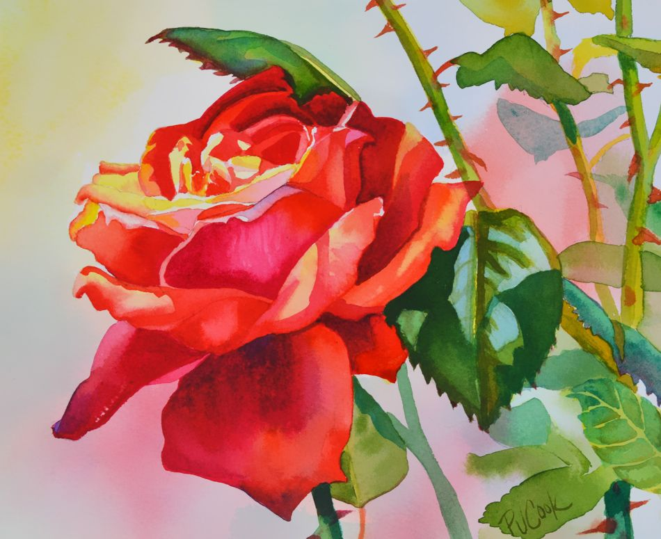 Red rose flower painting red rose flower watercolor and for How to paint a rose in watercolour