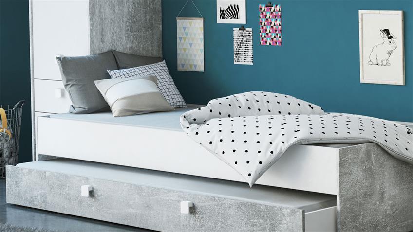 Bett Concrete Inkl Bettkasten Weiss Betonoptik 90x200 Cm In 2020 Bett Sofa Design Kleinkinderbett
