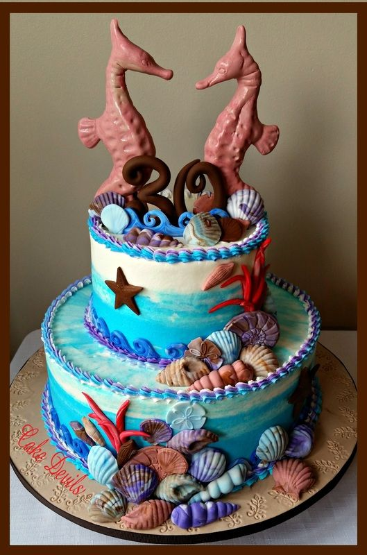 Beach Theme Sea Shell Birthday Cake