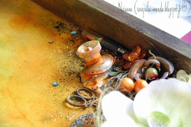 Mon Scrap'uleux Monde!: Thème esthétique en vitrine!! Avec les embellissements du scrap'uleux stock, les masks de spray & scrap, et les encres Izink pigment d'Aladine!