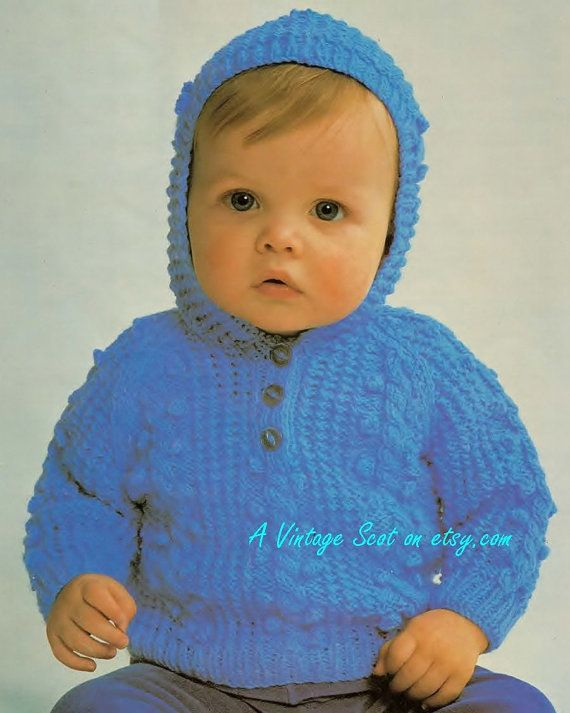 Xmas baby hooded sweater jumper for qk 8ply by avintagescot boys baby hooded sweater jumper for qk yarns instructions for sizes o 20 ins pdf of vintage knitting patterns dt1010fo