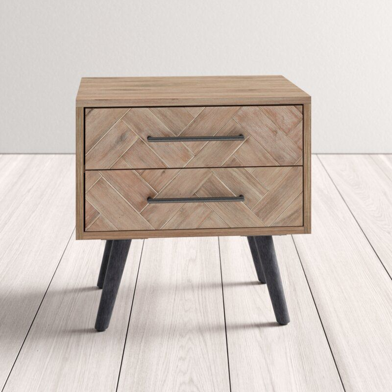 Archer 2 Drawer Solid Wood Nightstand In Multi Natural Wood Nightstand Nightstand Solid Wood Solid wood night stand