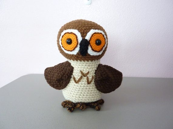 Brown and Tan Owl crochet toy  9 tall
