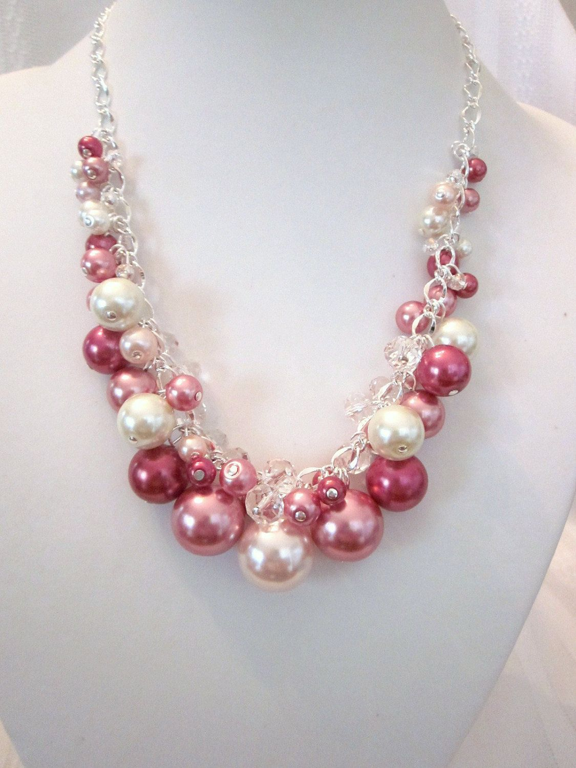 Shades of Rose Pearl and Crystal Cluster Necklace – Chunky, Choker, Bib, Necklace, Wedding, Bridal, Bridesmaid