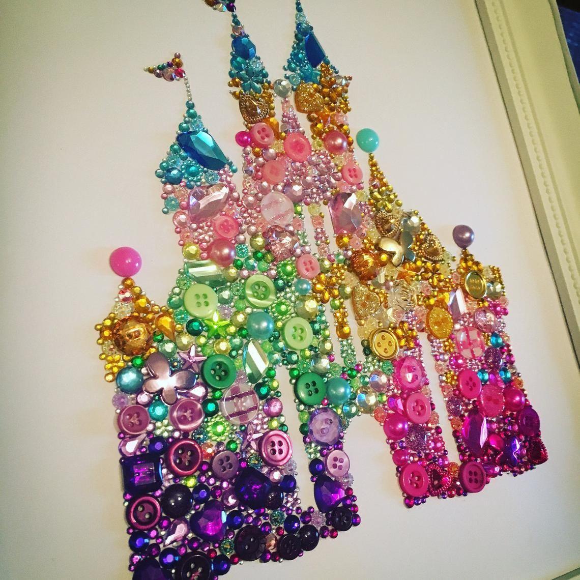 Disney Castle Princess Frame Wall Art Swarovski button | Etsy