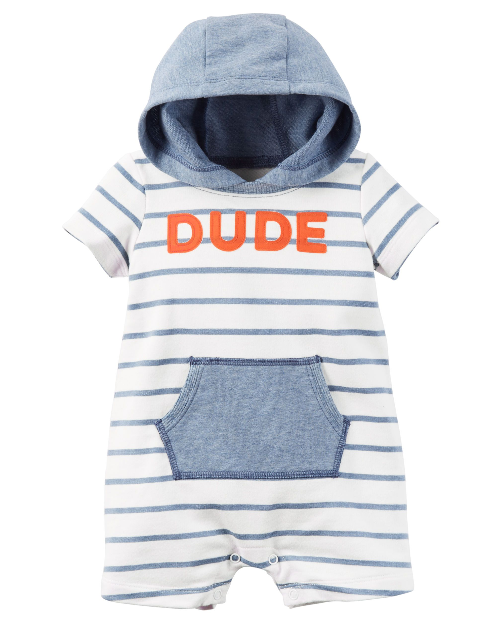 f97318a1409 Baby Boy Hooded French Terry Romper