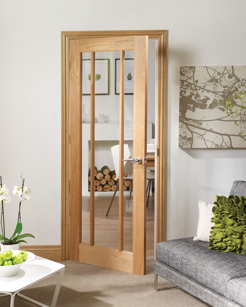 worcester pre finished internal oak door with clear glass. Black Bedroom Furniture Sets. Home Design Ideas
