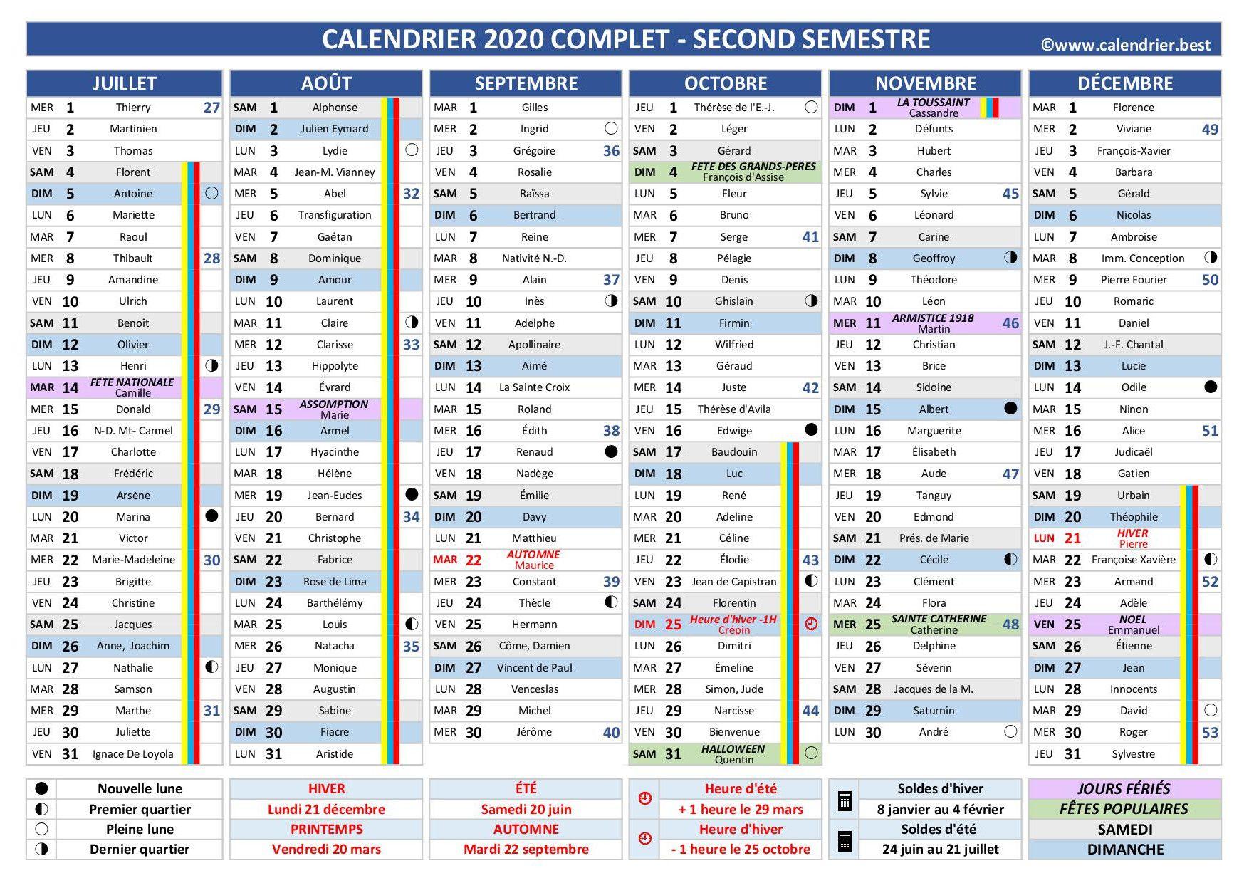 Calendrier 2020 2nd semestre, modèle complet en 2020 | Calendrier