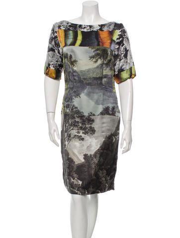 Dries Van Noten Silk Digital Print Dress