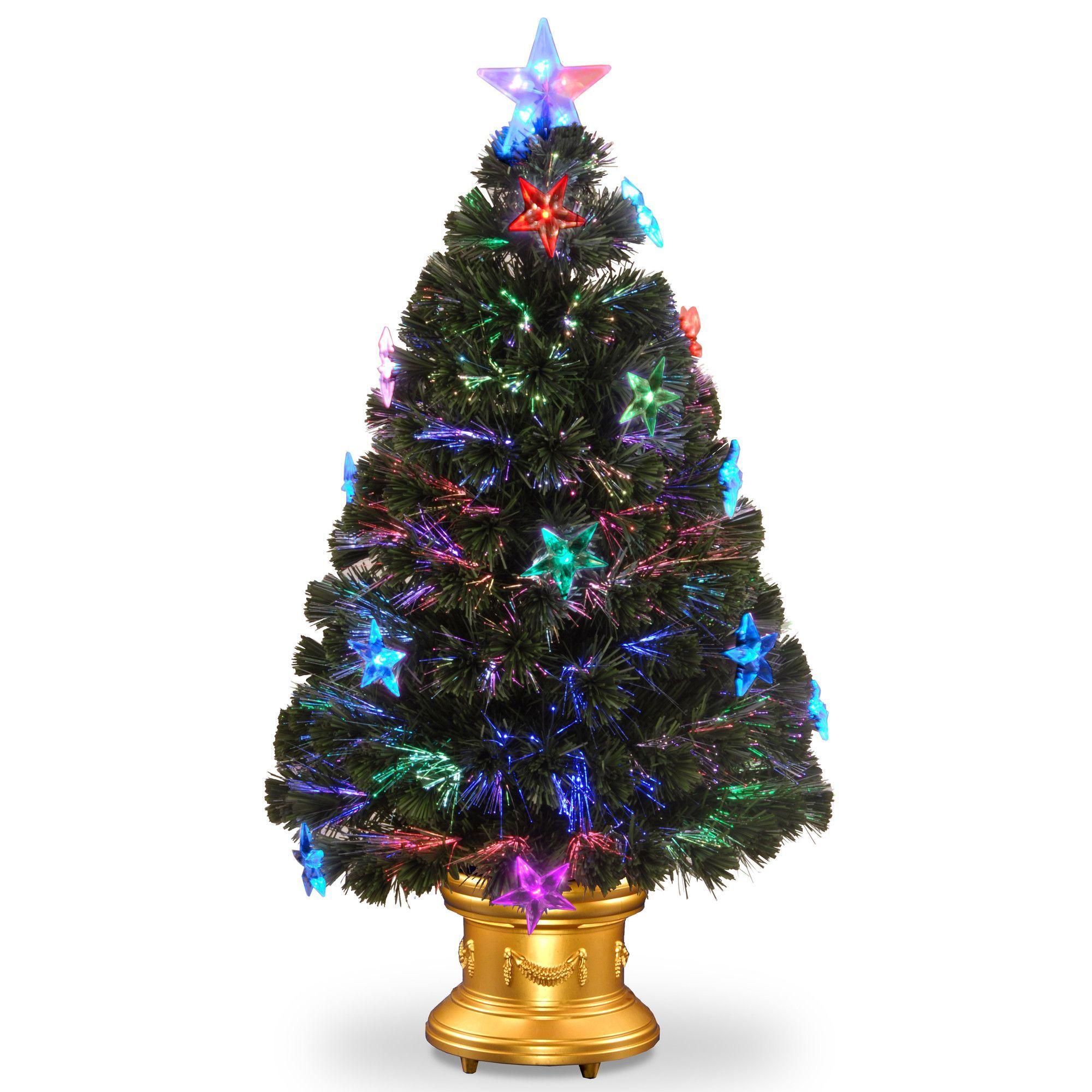 National Tree Co Fiber Optics 3 Green Firework Artificial Christmas Tree With Led Led Color Changing Lights Pre Lit Christmas Tree Artificial Christmas Tree
