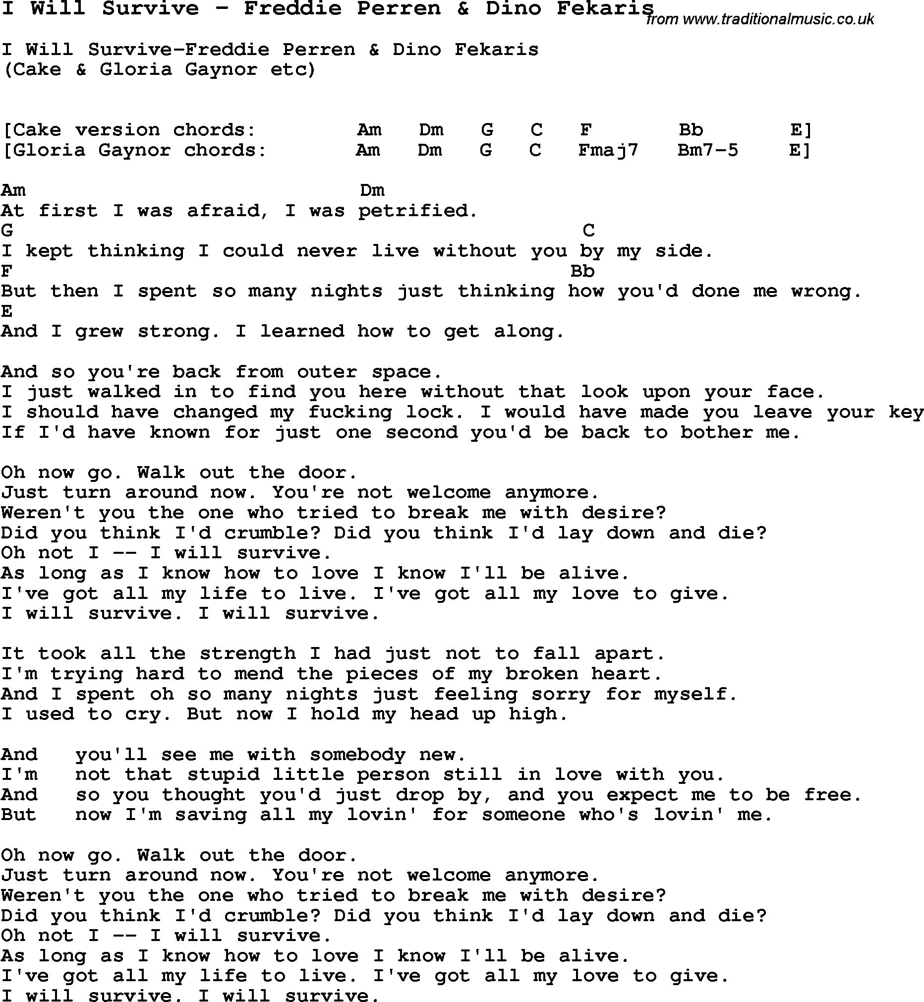 Song I Will Survive By Freddie Perren Dino Fekaris With Lyrics