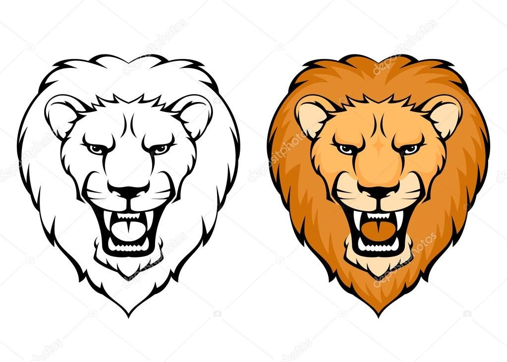 Cartoon Lion Face Roaring Simple Illustration Of Lion Art In 2019
