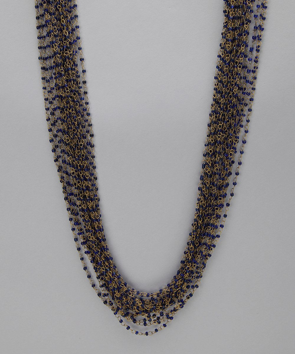 $33.99  Marlyn Schiff Gold & Blue Layered Chain Necklace
