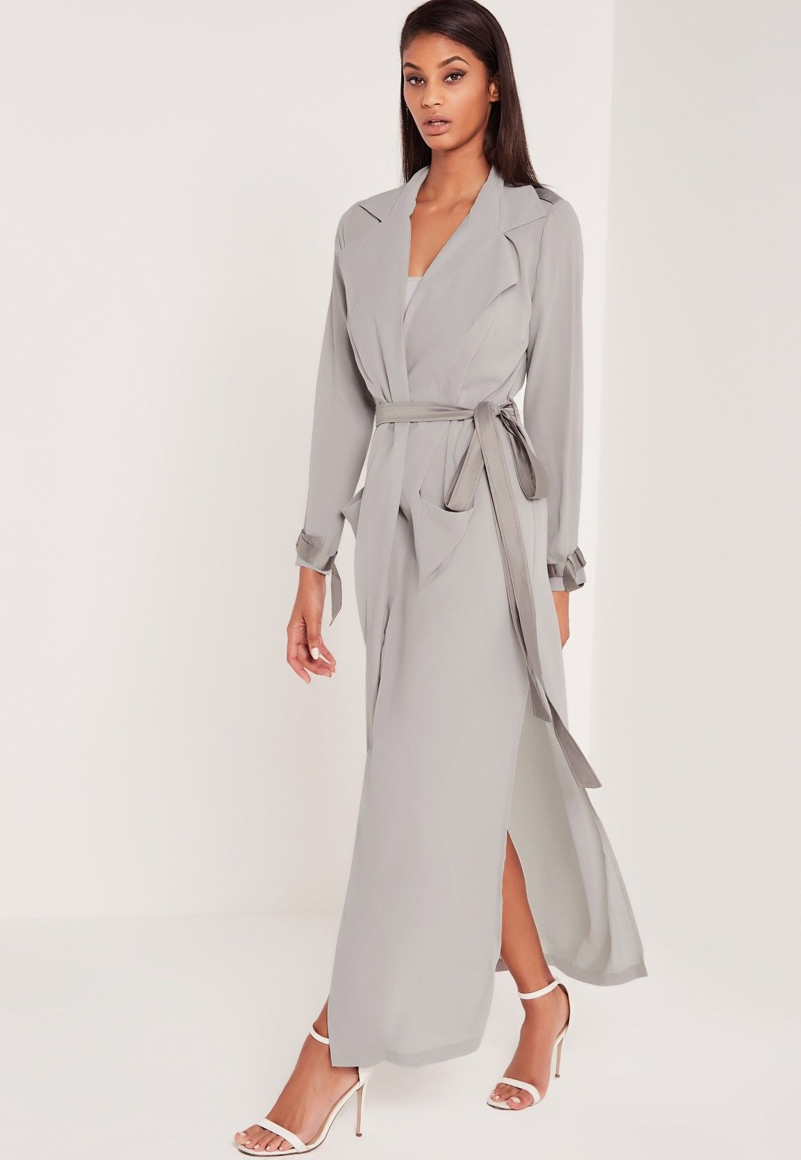 e3f77dcea7 Missguided - Carli Bybel Maxi Duster Coat Grey … | Coats and hats in ...