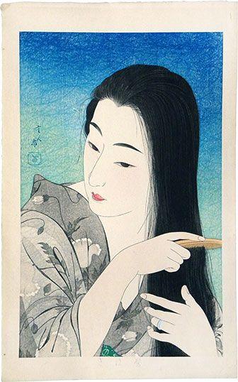 Torii Kotondo (1900-1976) 'Combing her hair'  (Kamisuki).