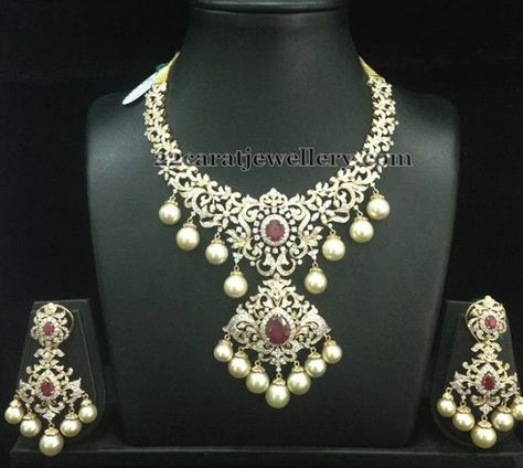 Bridal Diamond Necklace With Rubies Indian Wedding JewelleryIndian
