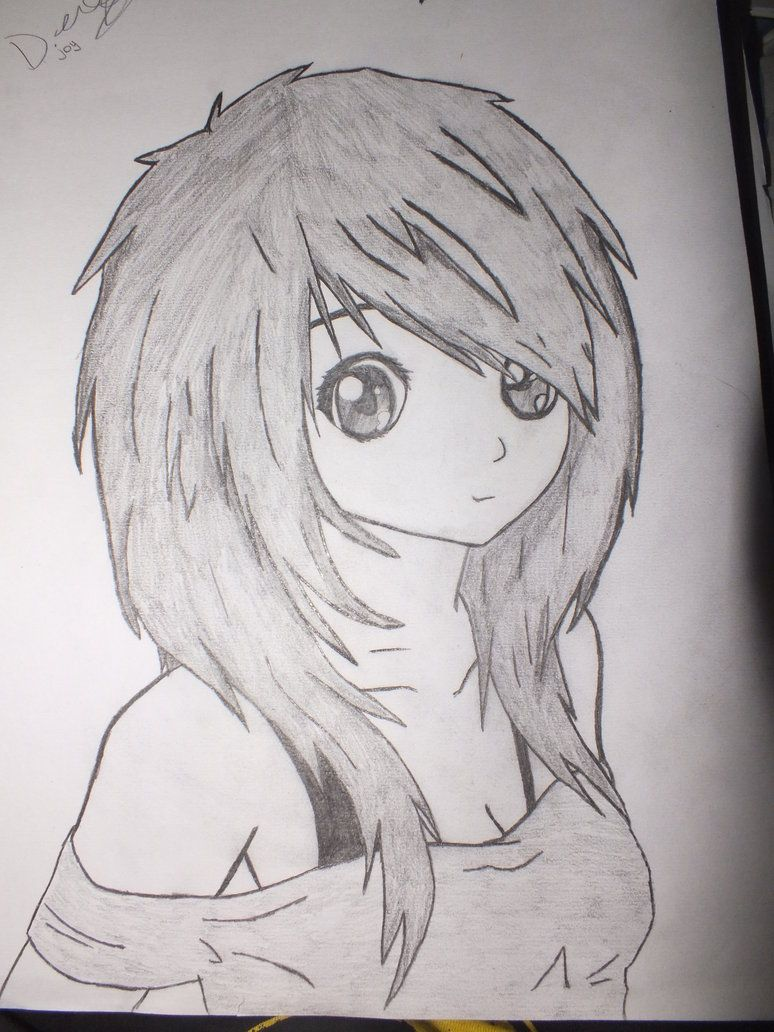 Anime girl draws anime girl drawings cartoon girl drawing