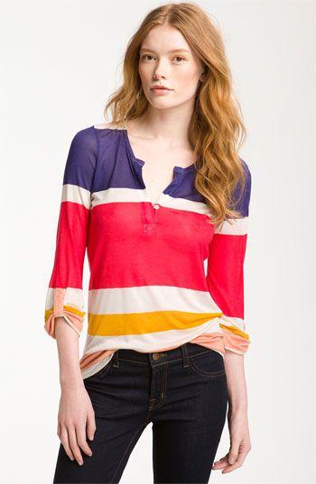 Colorblock Stripe Henley Top