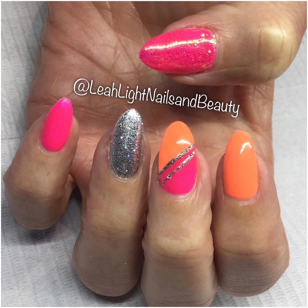 """185 Likes, 1 Comments - Leah Light Nails & Beauty (@leahlightnailsandbeauty) on Instagram: """"Bright and fun nails for Helen! - Chelsea xx #leahlightnailsandbeauty #love #bright #neon #nails…"""""""