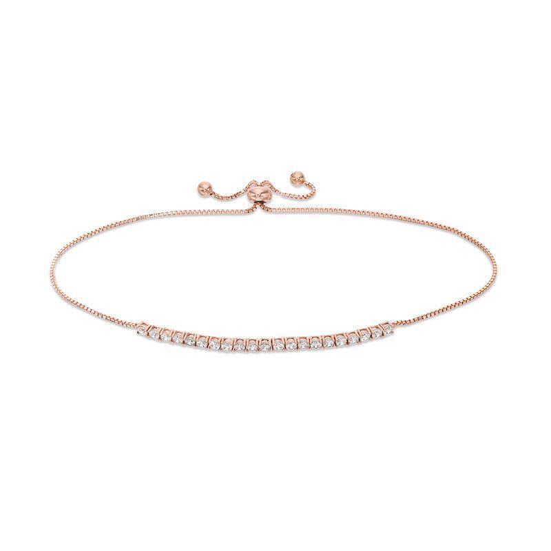 Cubic Zirconia Bolo Bracelet In 10k Rose Gold 9 25 Piercing Pagoda Rose Gold Gold Bracelets