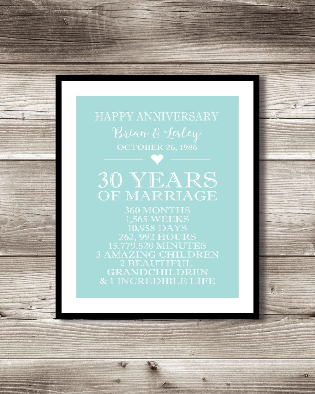 30 Year Anniversary Digital print, gift 30th Anniversary