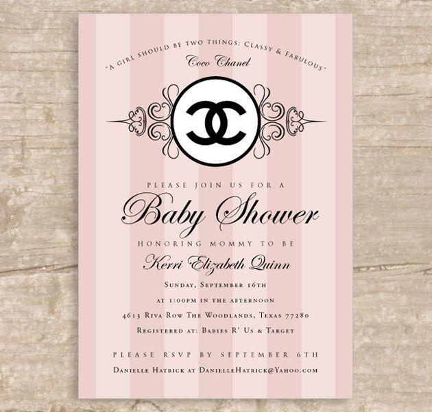 chanel baby shower invitation | coco chanel stylesparkle, Baby shower invitations