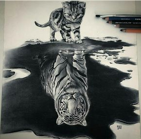 Kitten Tiger Reflection Cool Pencil Drawings Reflection Art Cool Drawings
