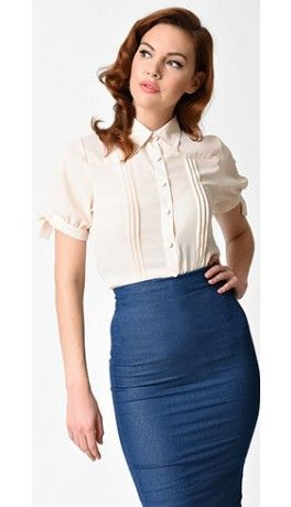 0f3030cccc928 Unique Vintage Cream Chiffon Button Up Short Sleeve Colvin Blouse ...