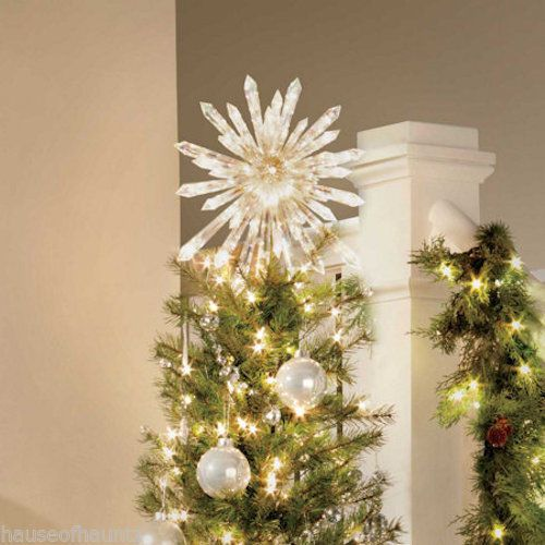 lighted christmas tree topper crystal star decoration ornament 50 mini lights star decorations. Black Bedroom Furniture Sets. Home Design Ideas