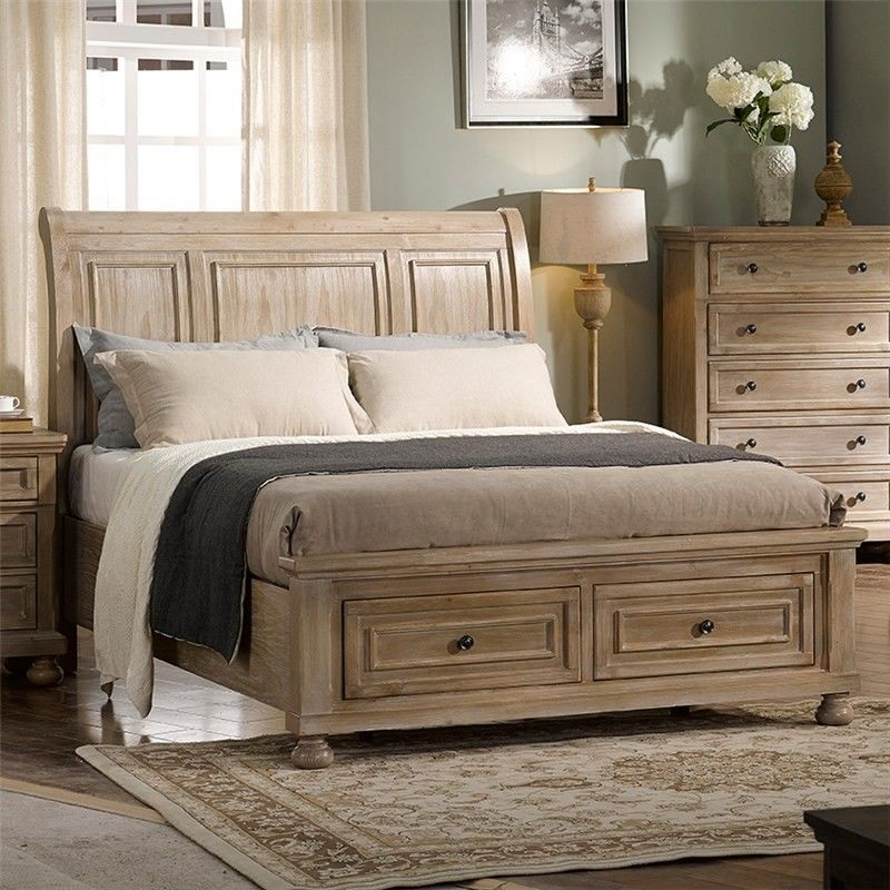 Alvis Solid Pine Timber Bed With End Drawers King Timber Beds Pine Timber Bed