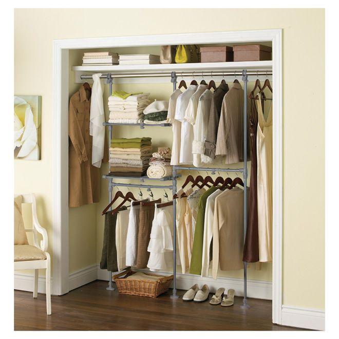 gracious living organisateur ajustable pour garde robe r no d p t id es de rangement. Black Bedroom Furniture Sets. Home Design Ideas