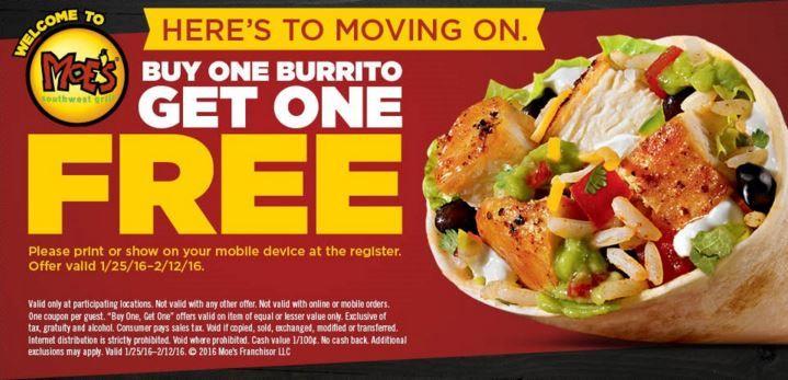 Bogo Burritos At Moe S With Coupon Kids Eat Free Moe Southwest Grill Restaurant Deals