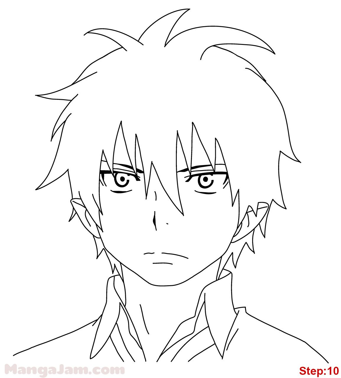 How to Draw Rin Okumura from Blue Exorcist step 10 ...
