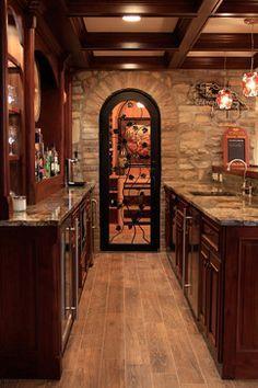 Image result for basement bar brick wine room