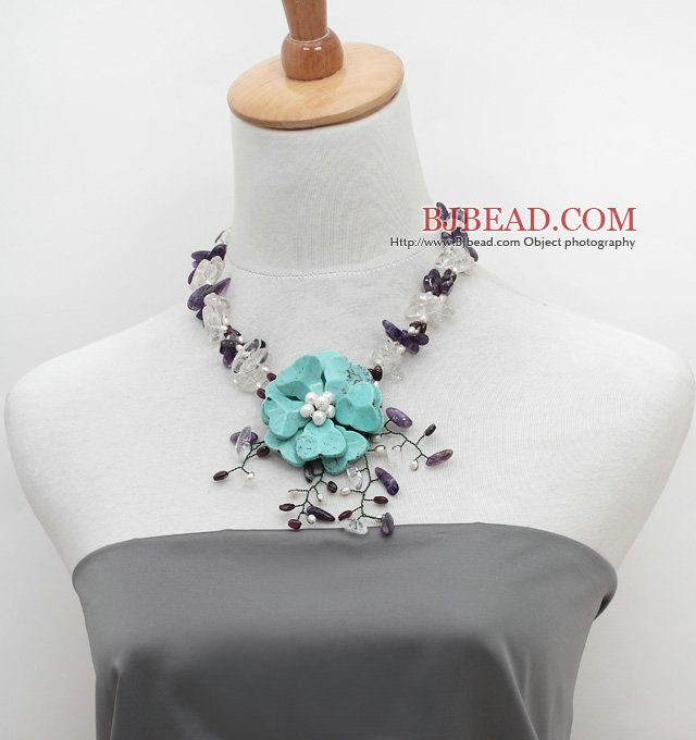 Surtido de perlas de agua dulce blanca y cristalina clara y patatas fritas Amatista Collar con Flor Crocheted turquesa