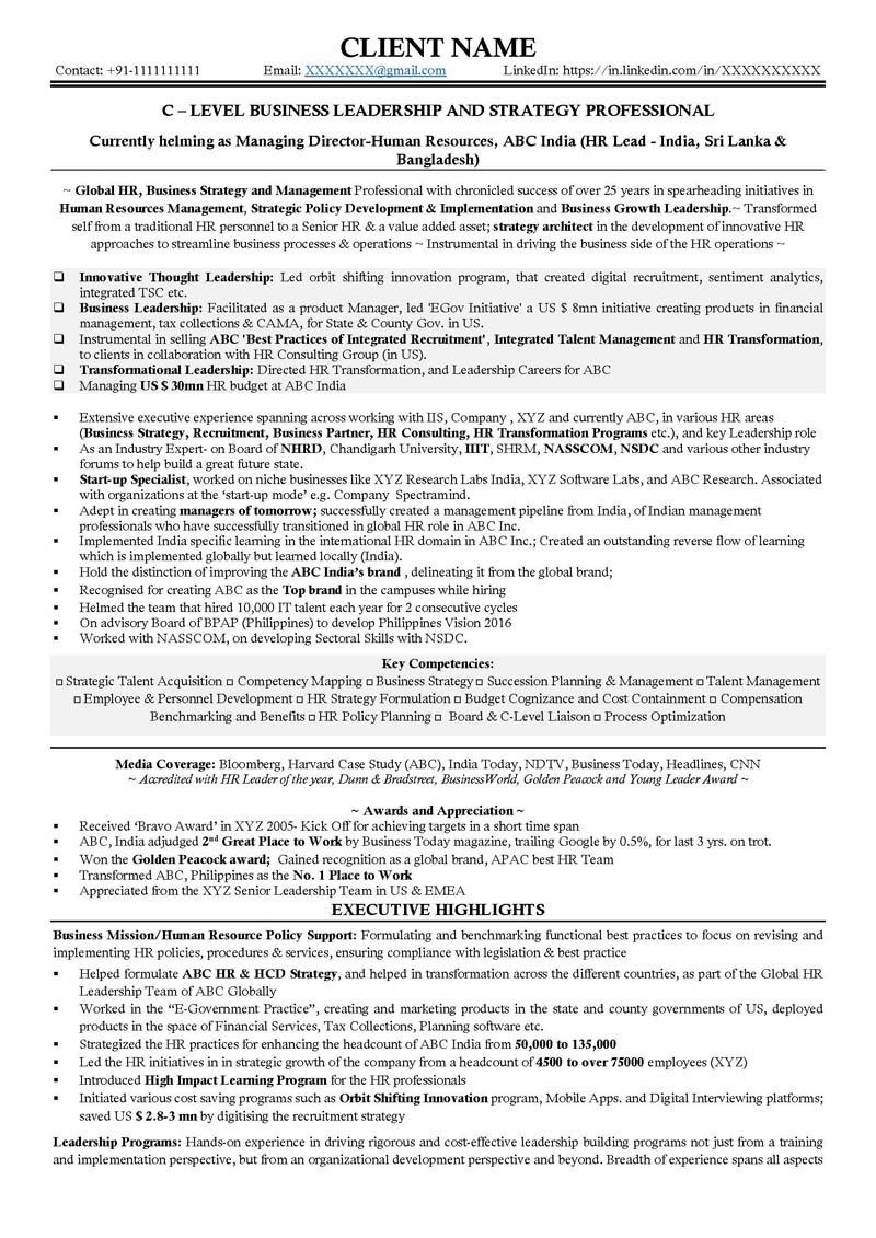 C Suite Resume Examples Resumeexamples