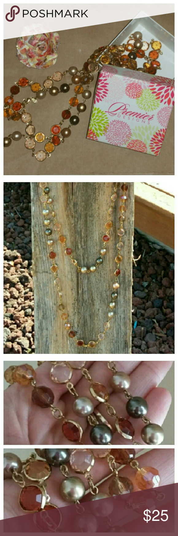 """Premier Long Necklace Necklace is long. Meant to be doubledlayered. Shades of brown beads and pearls with gold. Box included with necklace. 60"""" long  Only worn twice. Premier Designs Jewelry Necklaces"""