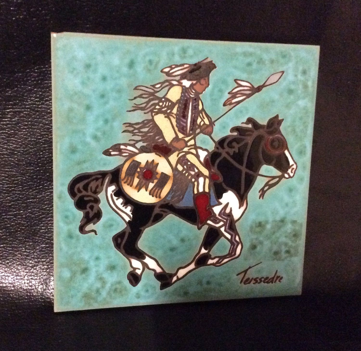 Cleo Teissedre Signed Native American Ceramic Tile Indian On Horse By Dublinsattic Etsy