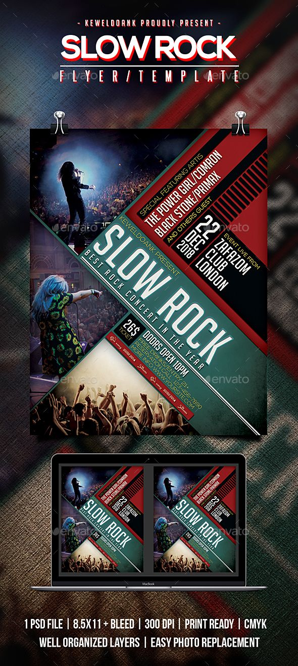 Slow Rock Flyer Poster Flyer Template Template And Fonts