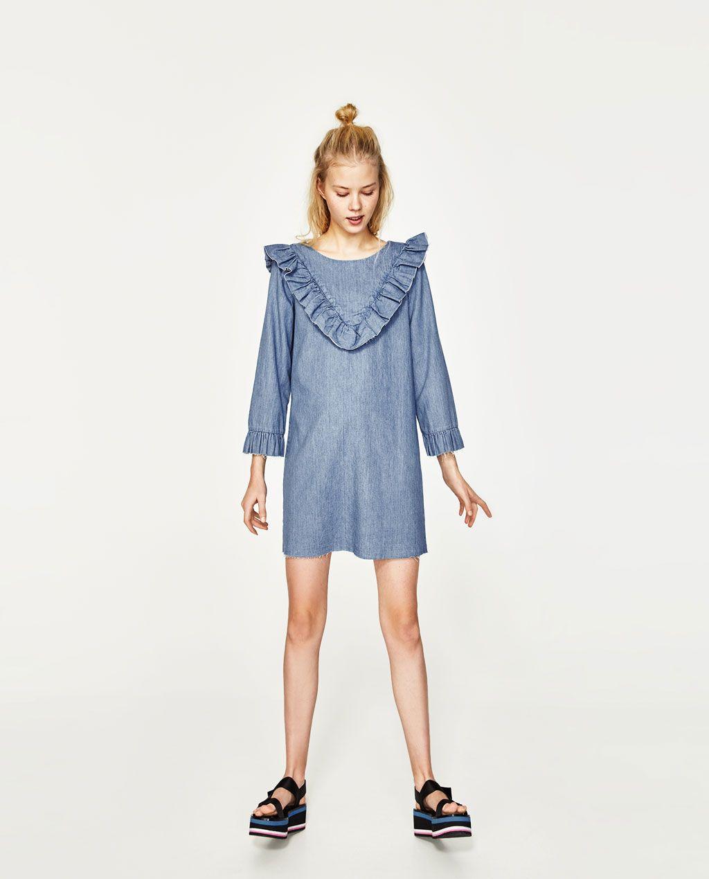 9675c846dd Image 1 of FRILLED DENIM DRESS from Zara | Shopping List | Dresses ...