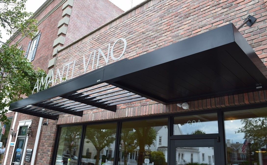 Masa Extrudeck And Ecoshade Combo With Led Sign At Amanti Vino In Morristown Nj Architecture Create Bui Door Canopy Modern Metal Door Canopy Awning Canopy