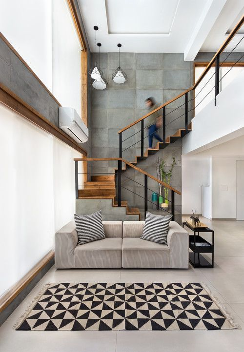 Concrete Wall Panels For Double Height Project Calld The Open House By Nishita Kamdar Stairs In Living Room Interior Architecture House Interior Architecture