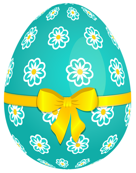 Sky Blue Easter Egg With Flowers And Yellow Bow Png Picture Easter Egg Pictures Easter Images Easter Pictures