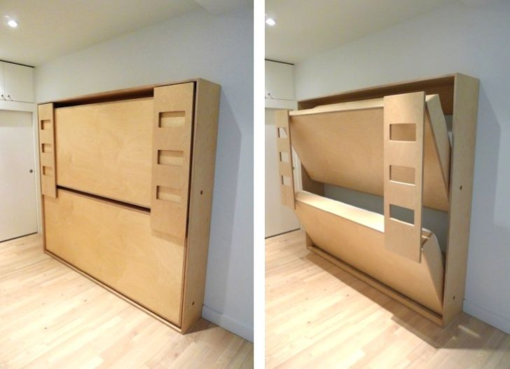 Dumbo Double Tuck Bed Packs Two Folding Beds Into e Wall