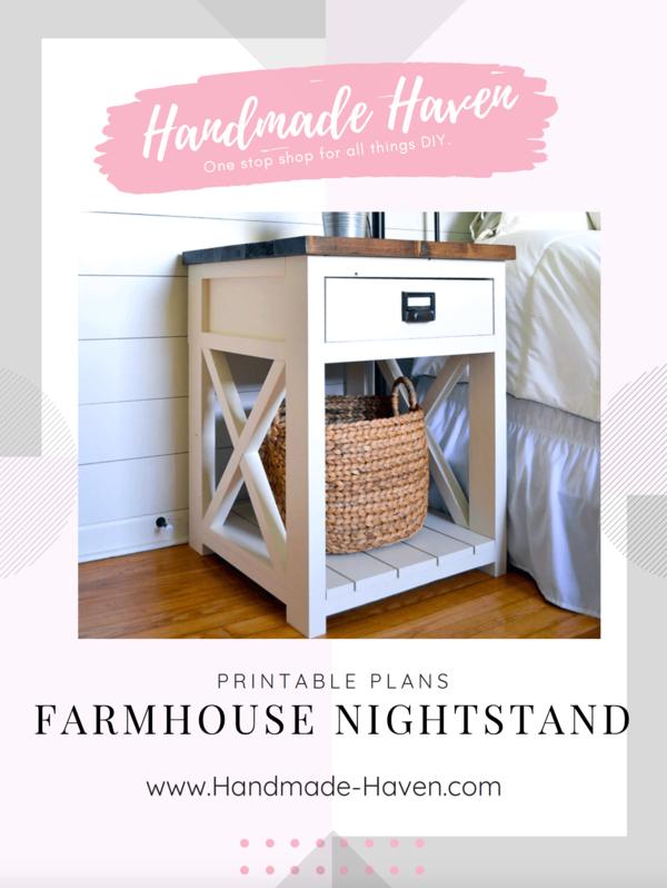Farmhouse Nightstand Printable Plans Farmhouse table