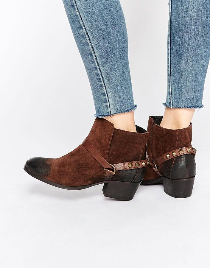 Hudson London Ayelen Brown Suede Ankle Boots