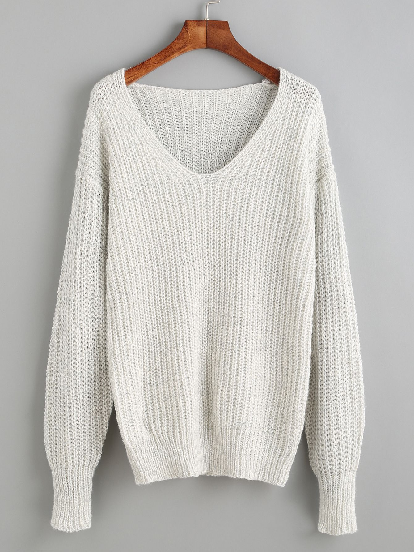 Shop Light Grey V Neck Drop Shoulder Sweater online. SheIn offers ...