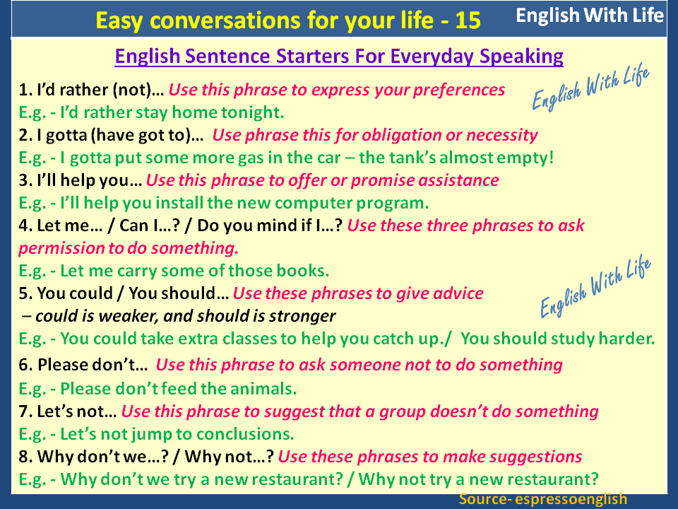 Easy Conversations For Your Life 15 English Sentence Starters For Everyday Speaking
